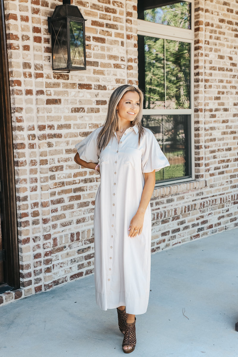 Bubble Maxi Button Down Dress