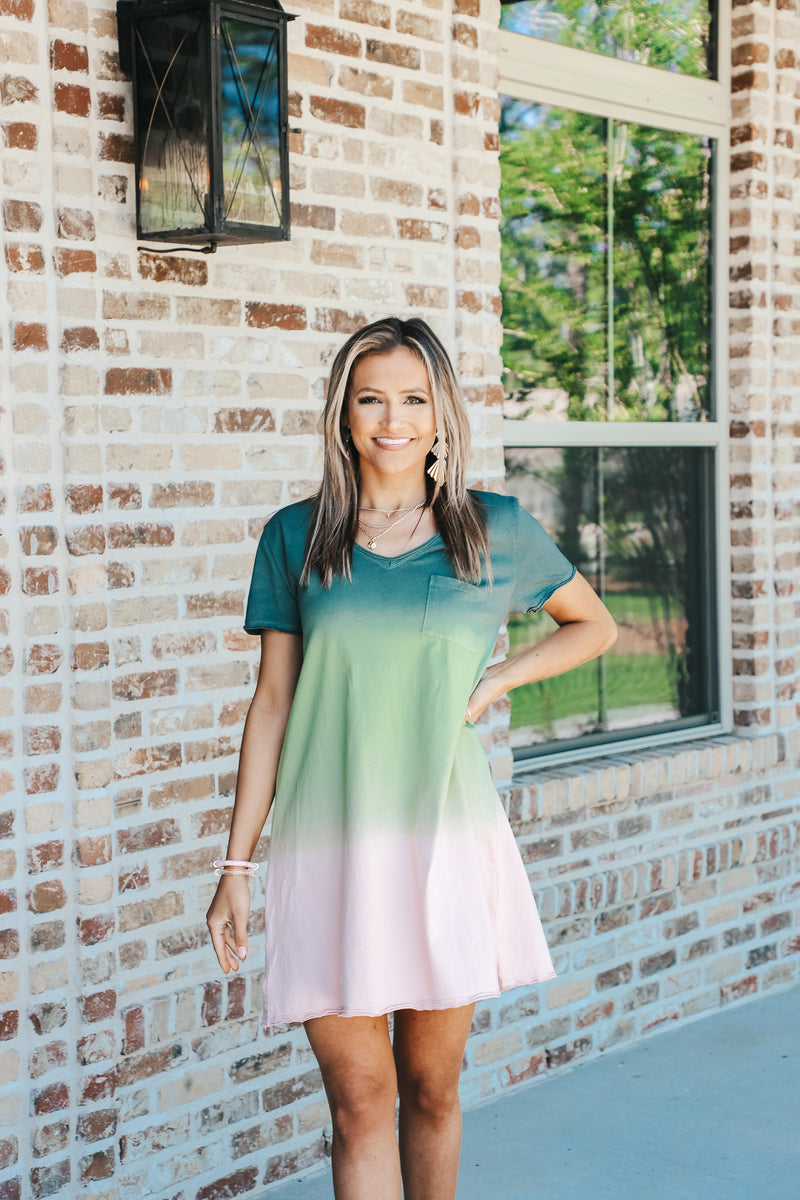 Watermelon Dip Dye T-Shirt Dress