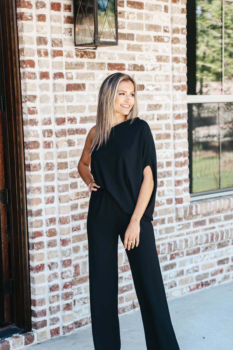 Solid Slouchy One Shoulder Jumpsuit