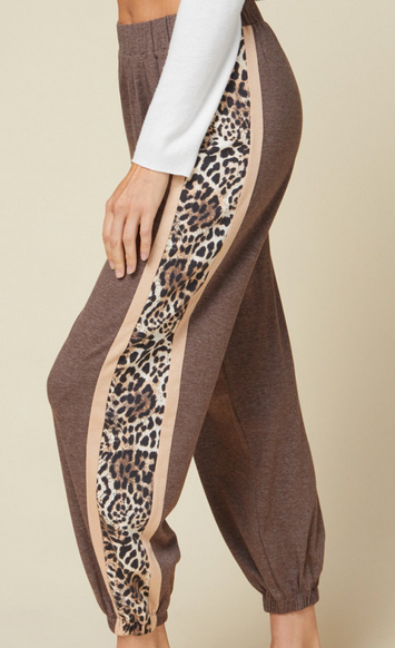 Leopard Colorblock Joggers with Nude Detail