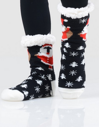 Santa Sherpa Slipper Socks - Doorbuster