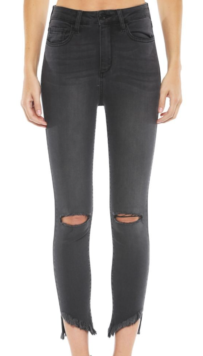 HIGH RISE CROP SKINNY W/FRAYED HEM