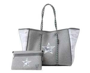 preneLOVE Grey Camo Star Large Tote