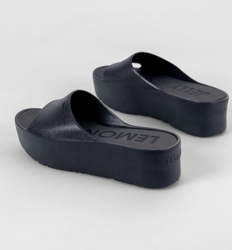Lemon Jelly Black Platform Slide