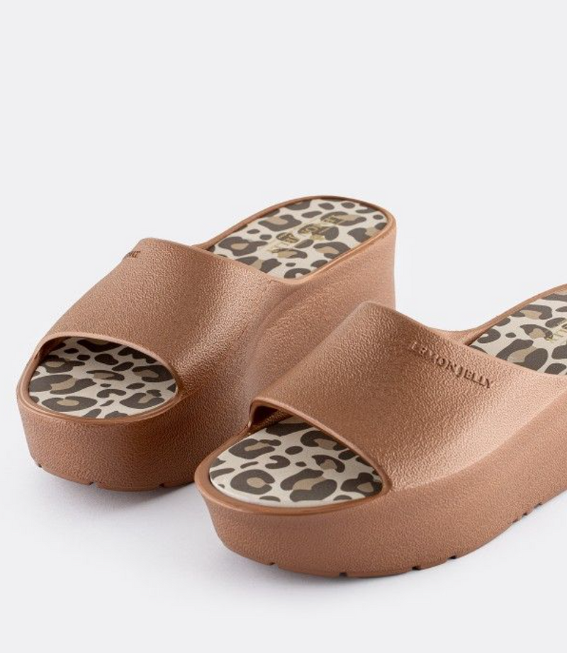 Lemon Jelly Bronze Leoaprd Platform Slide