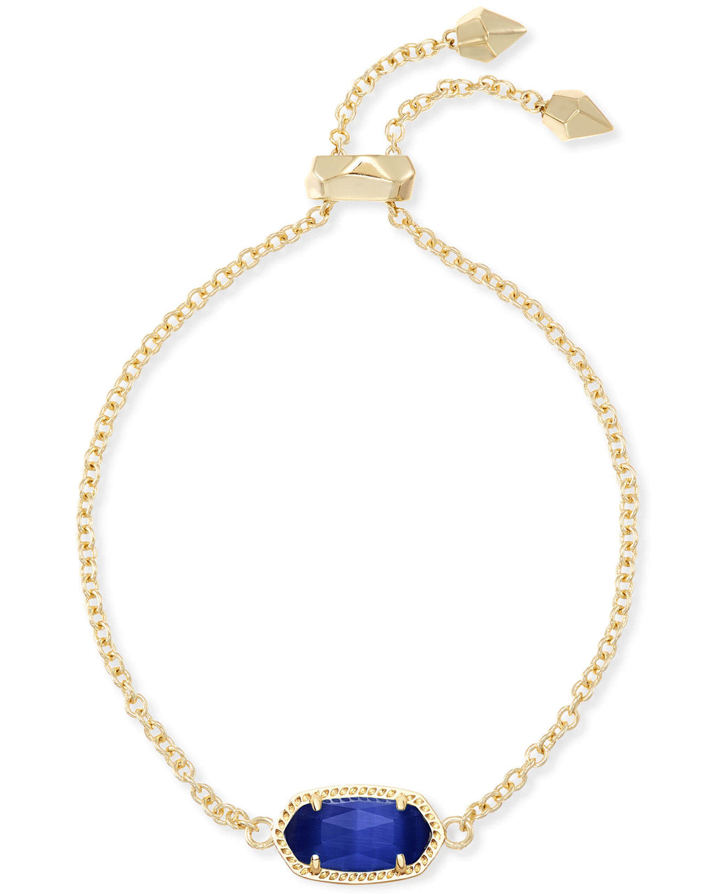 Kendra Scott Elaina Gold Adjustable Chain Bracelet In Cobalt Cat's Eye September Birthstone