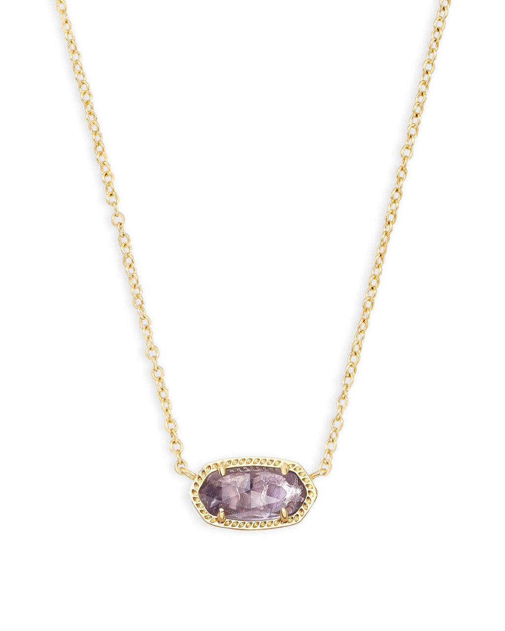Kendra Scott Elisa Gold Pendant Necklace In Amethyst February Birthstone