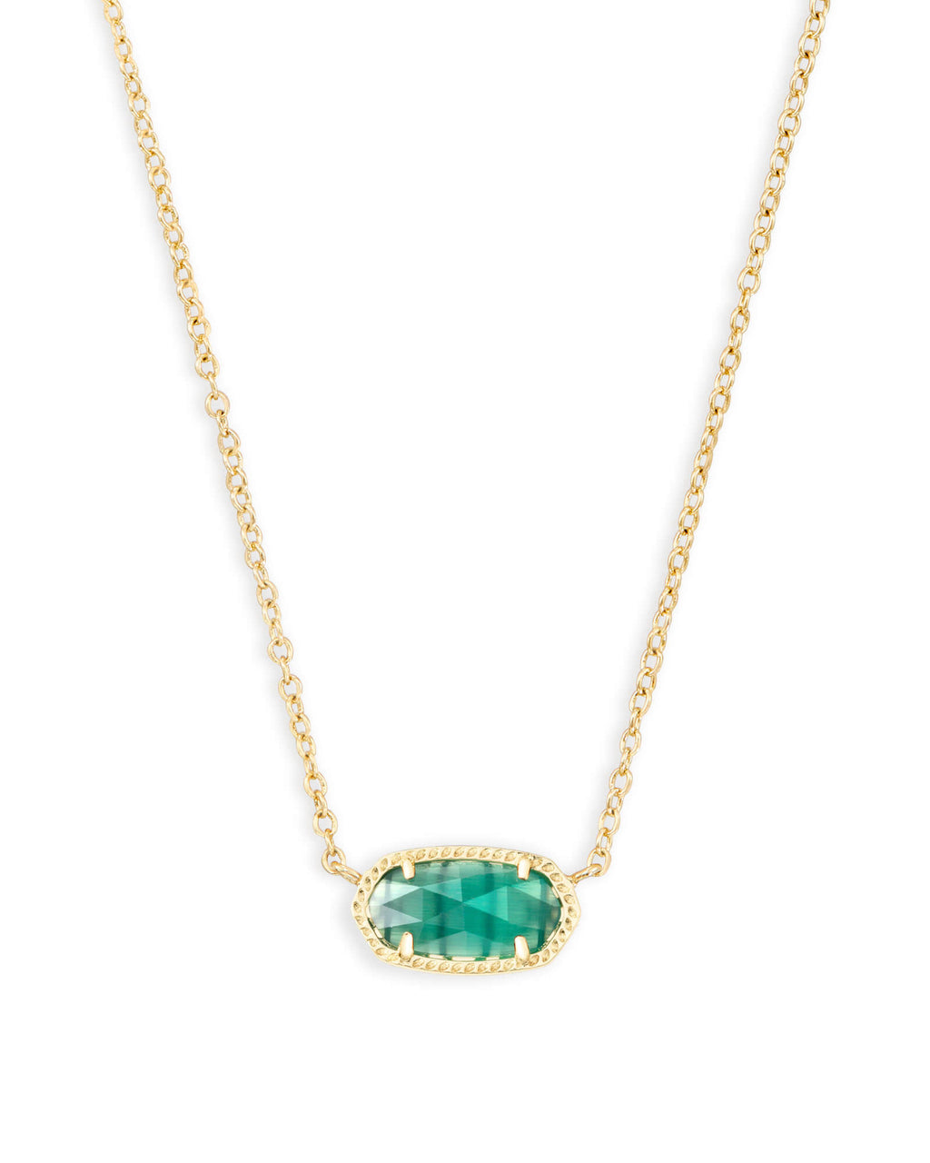 Kendra Scott Elisa Gold Pendant Necklace In Emerald Cat's Eye May Birthstone - Fly Boutique