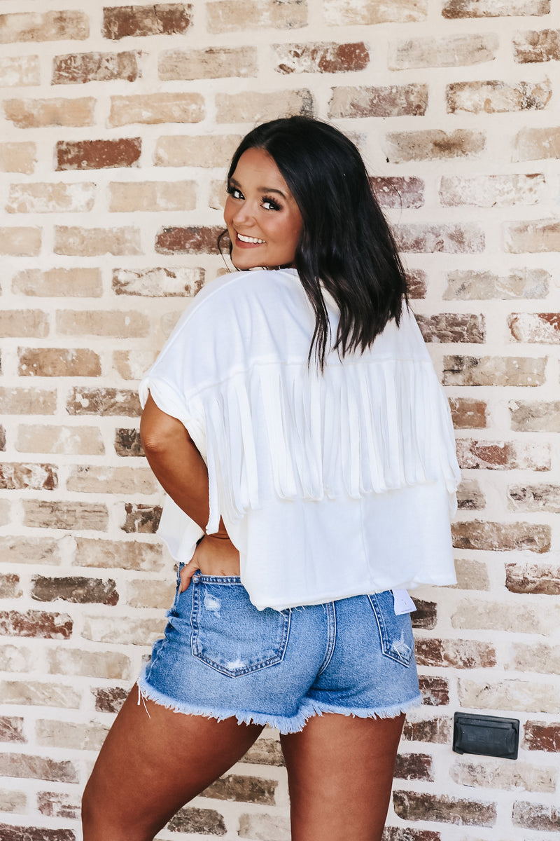 Oversized Fringed Back Tee
