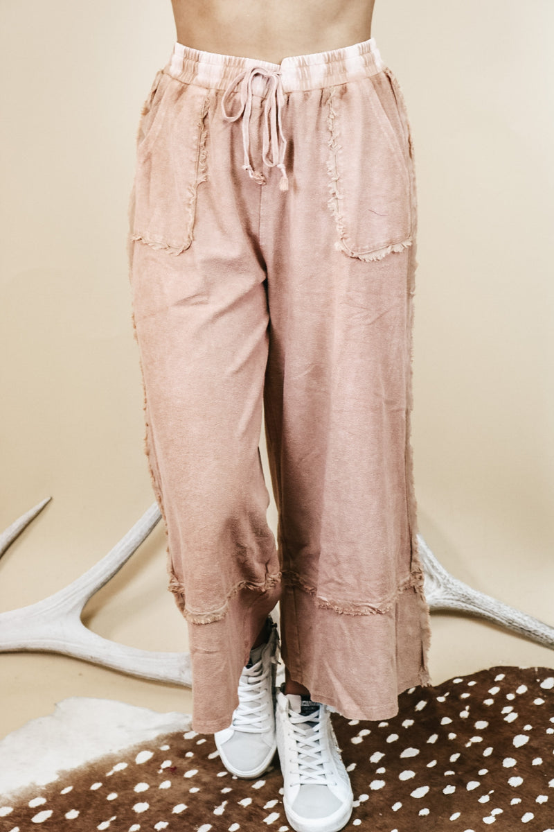 Mineral Washed Knit Pant In Rust