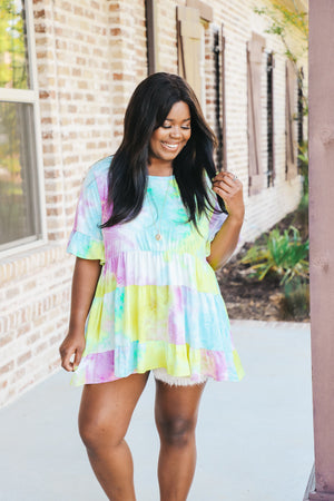 Lilac Mix Tie Dye Babydoll Top