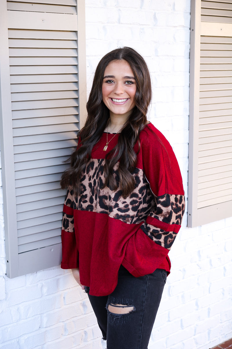 Cheetah Detailed Longsleeve Top