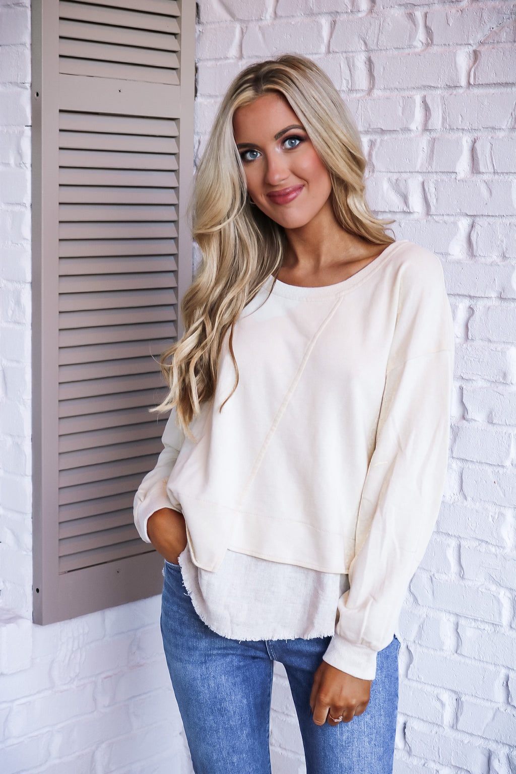 Cream and Linen Detail Top