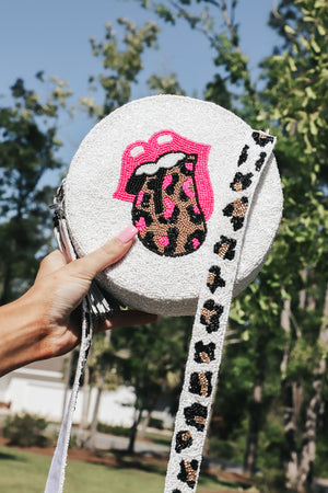 Moyna Leopard Tongue Beaded Crossbody