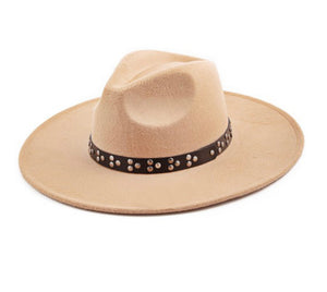 Stud Band Wide Brim Hat