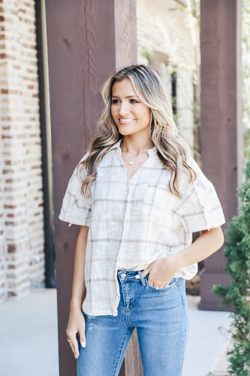 Plaid Linen Boxy Button Down