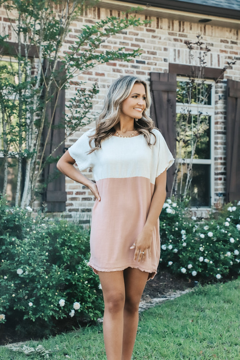 Blush and Oatmeal Two Toned Linen Dress