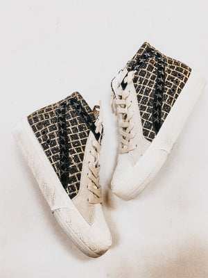 Vintage Havana Black and Gold Glitter High Top Platform