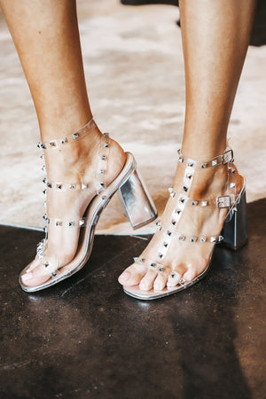 Clear Studded Block Heels
