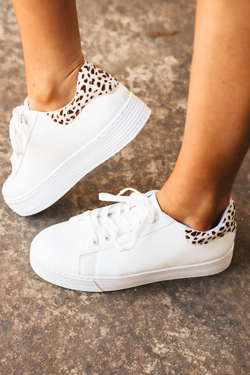 White with Leopard Platform Sneaker