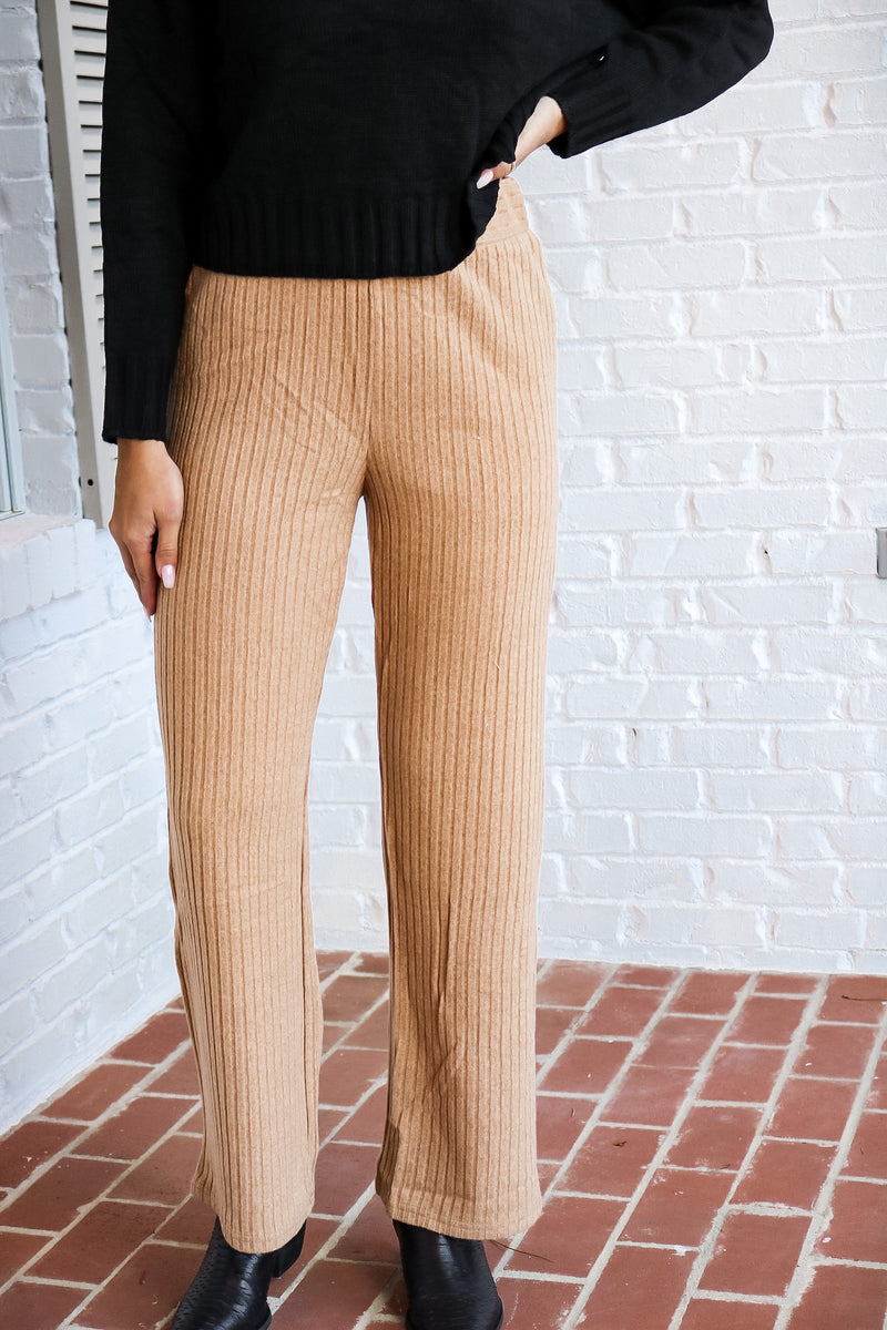 Ribbed Pull On Flare Pants