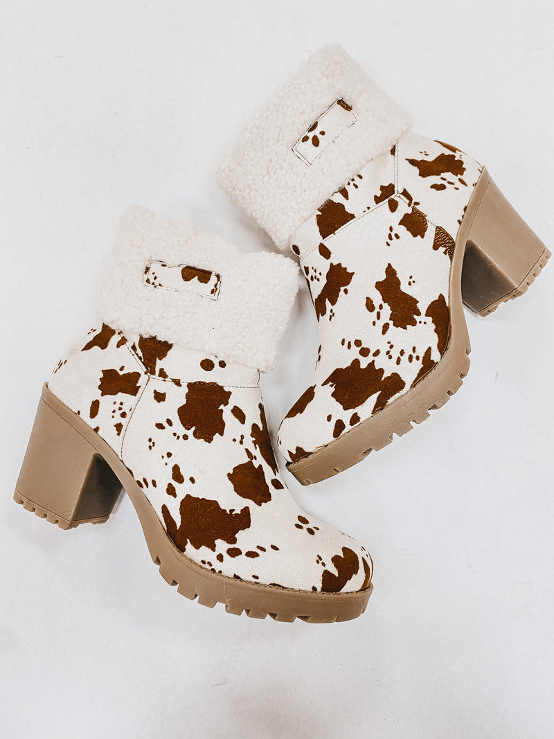 Sherpa Cow Print Boot