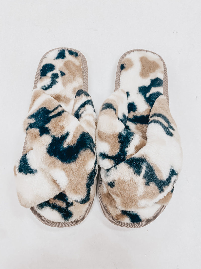 Camo Crossover Fuzzy Slipper