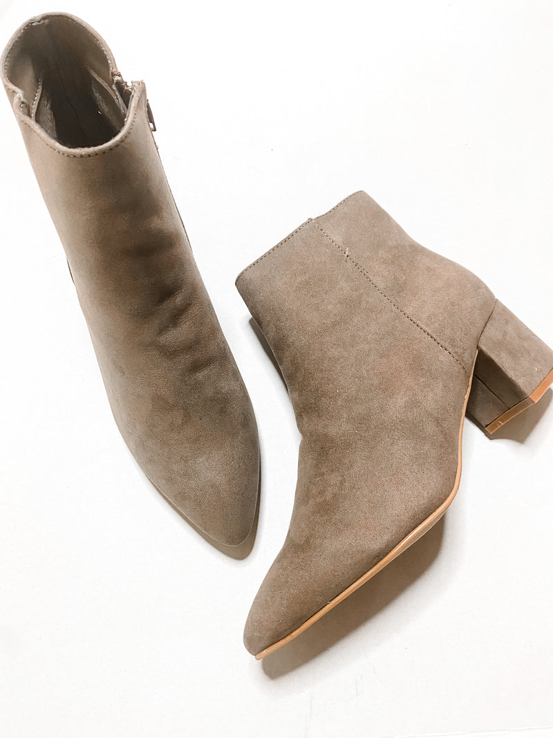 Taupe Microsuede Ankle Bootie