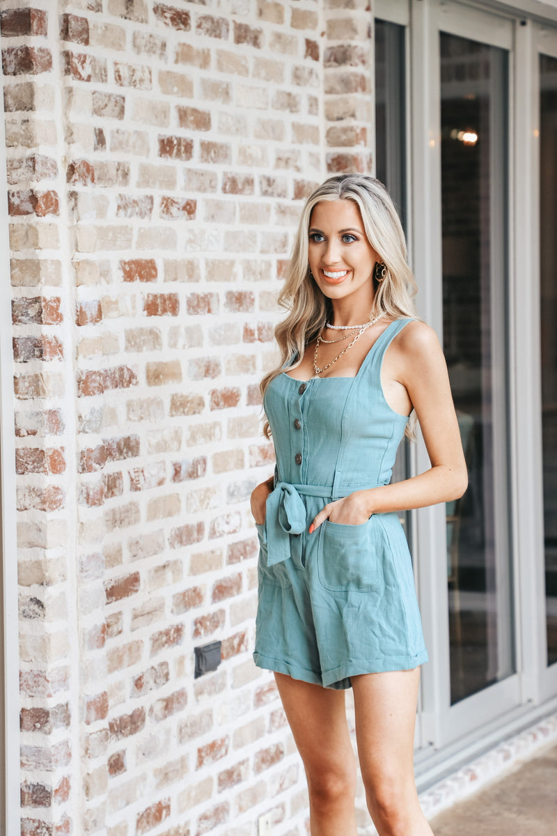 Sage Button Down Romper