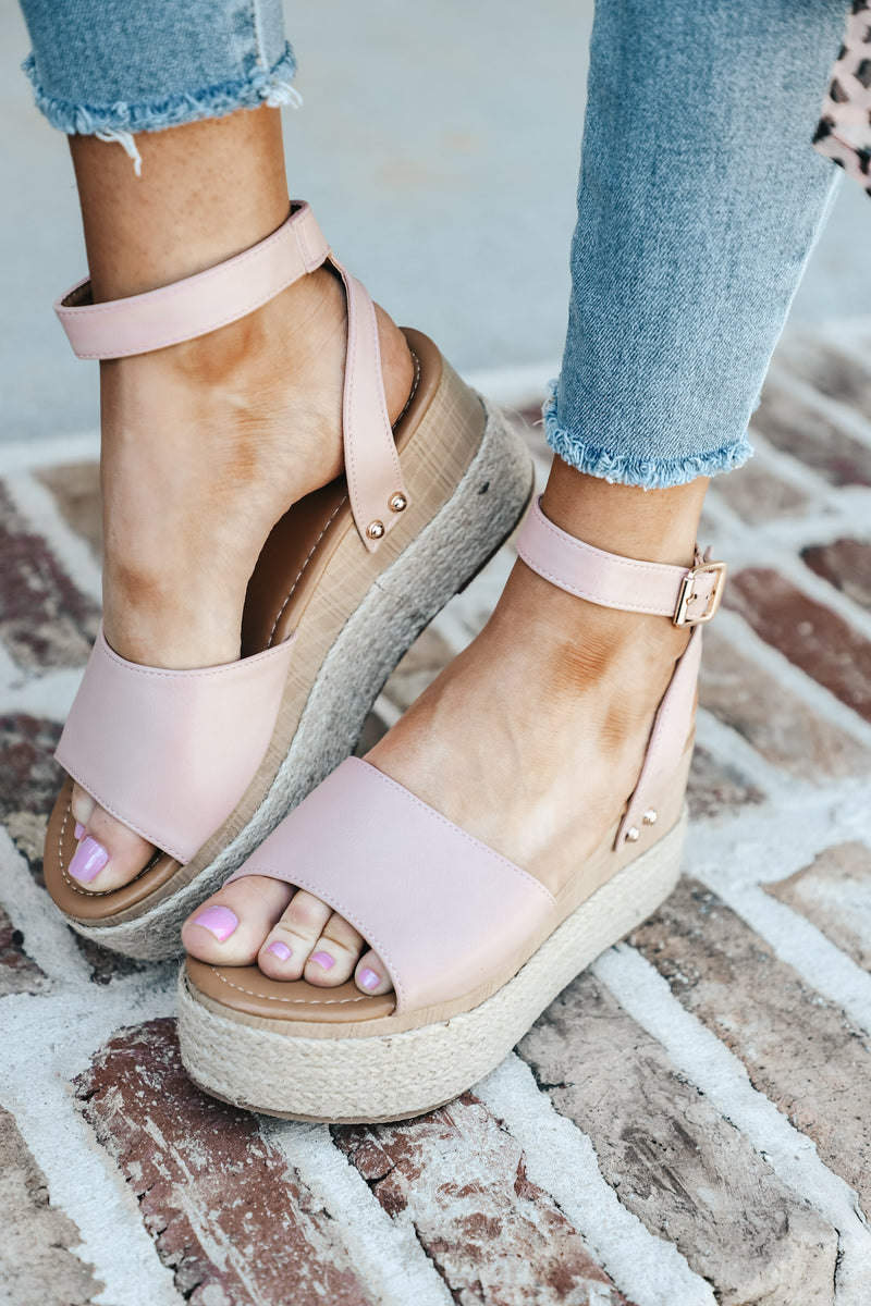 Wrap Espadrille Platform in Blush