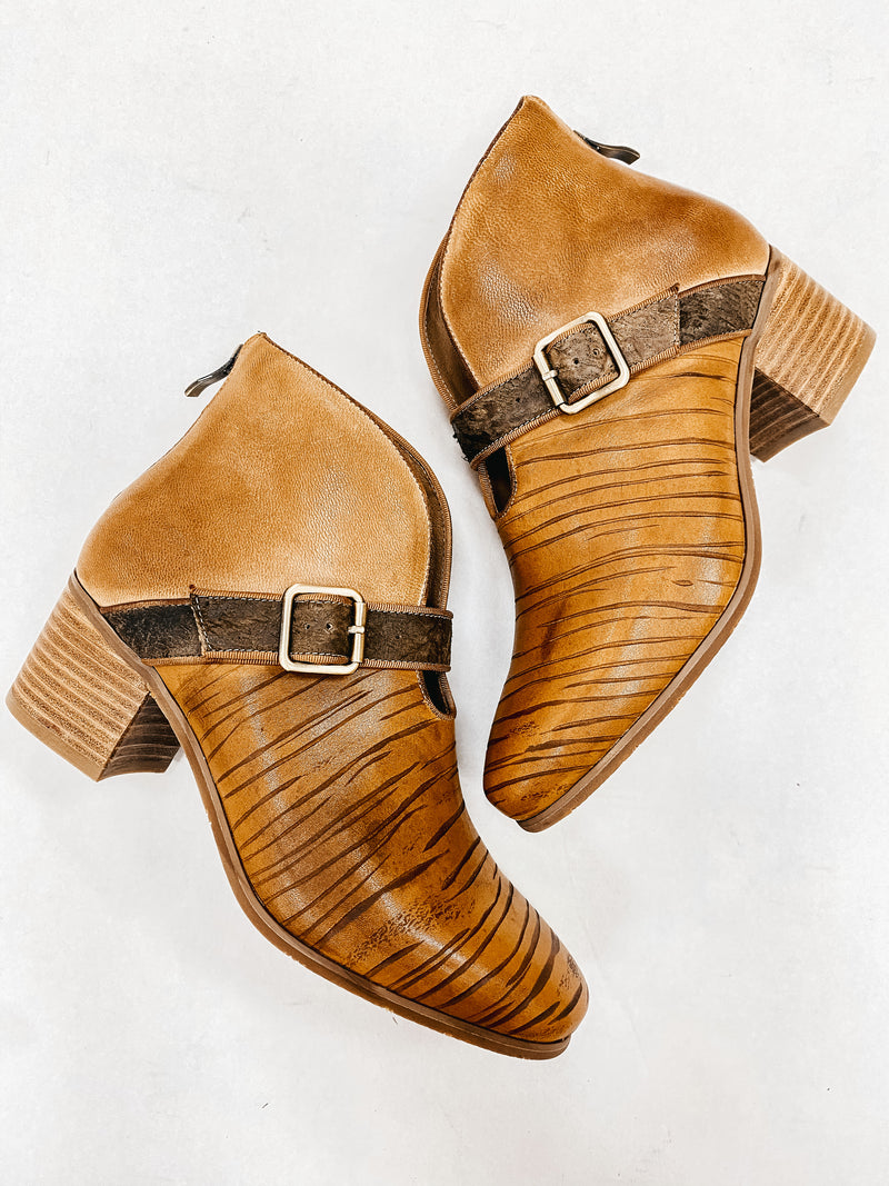 Antelope Cognac Leather Booties