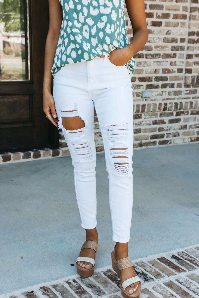 White Distressed Ankle Skinny