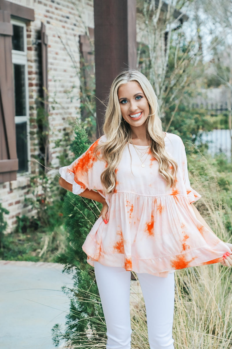 Sunset Coral Tie Dye Top
