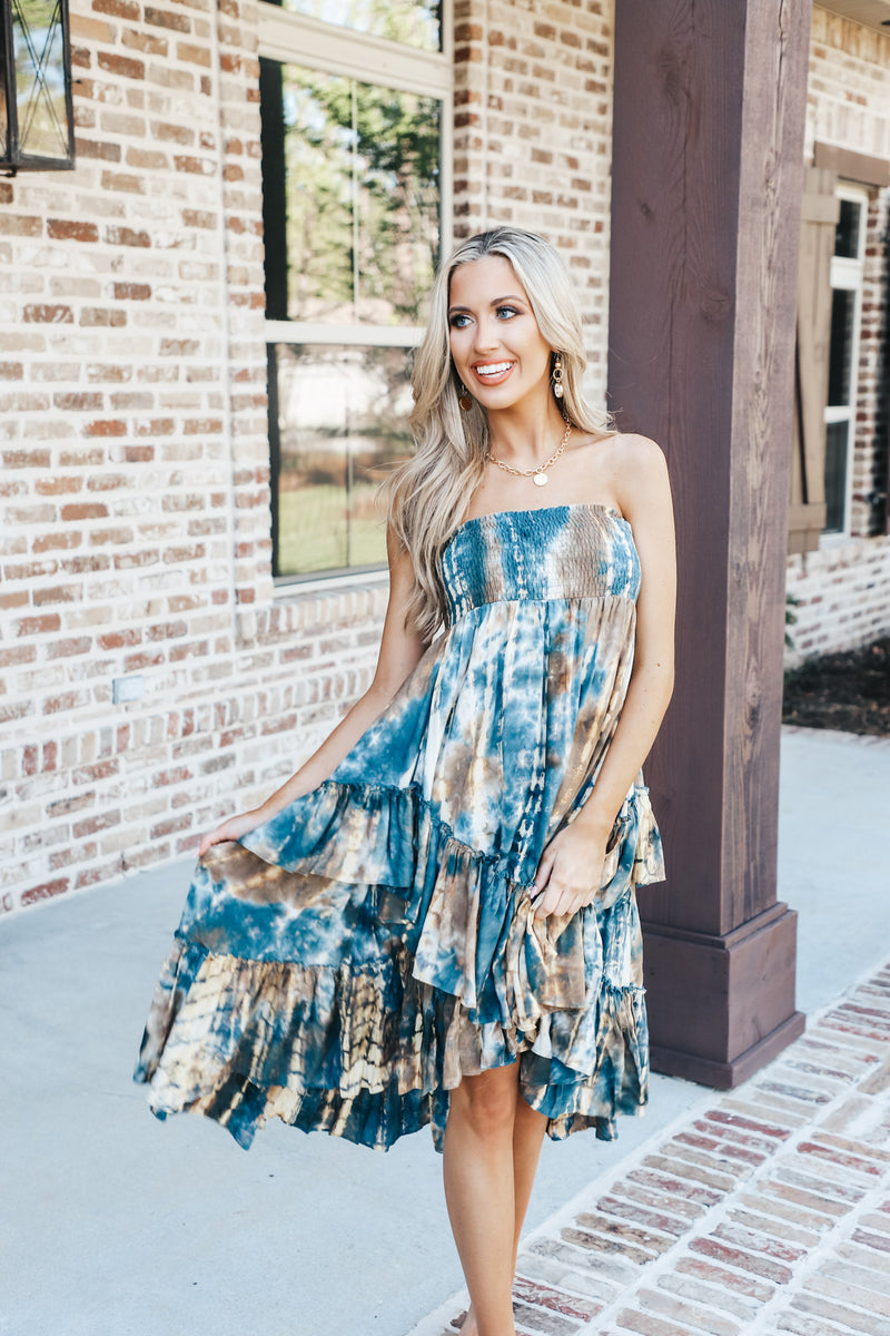 Navy Tie Dye Flowy Swing Dress