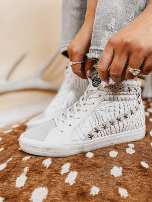 Vintage Havana White and Light Grey Croc High Top