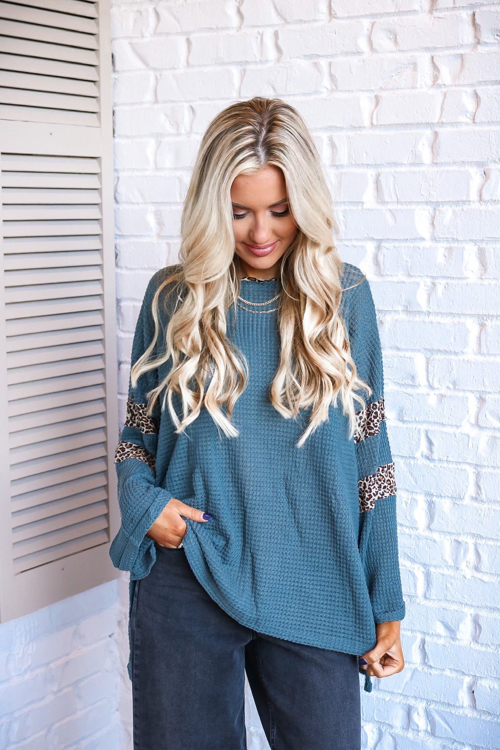 Teal Cheetah Detail Thermal Top