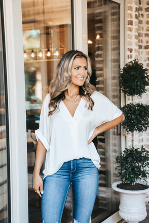 V-Neck High Low Blouse