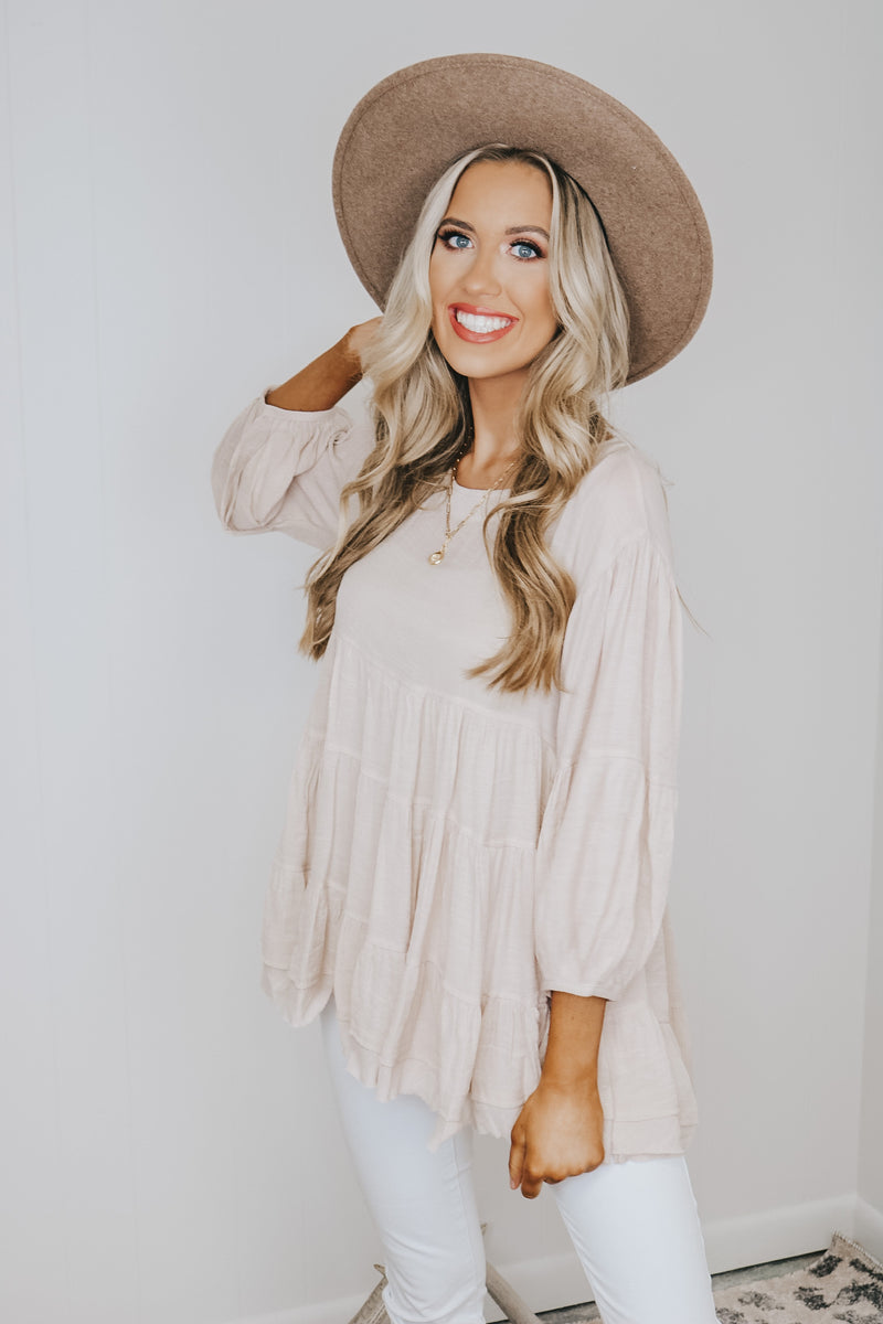 Oatmeal Scoop Neck Tiered Top