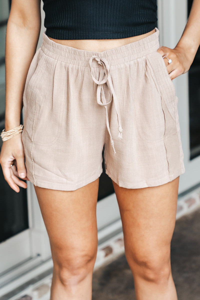 Pleated Linen Drawstring Shorts