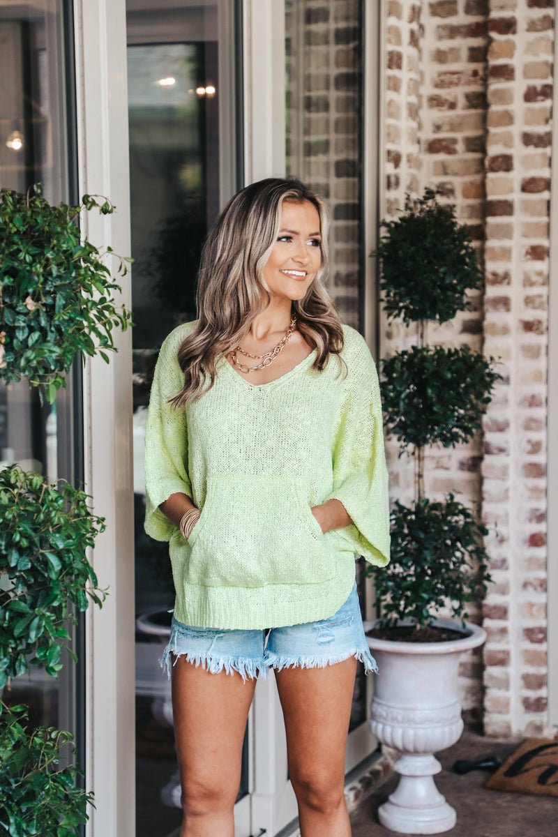 Lime Sweater Knit Pullover