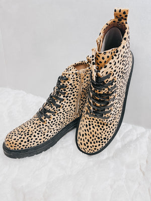 Spotted Lace Up Combat Boot