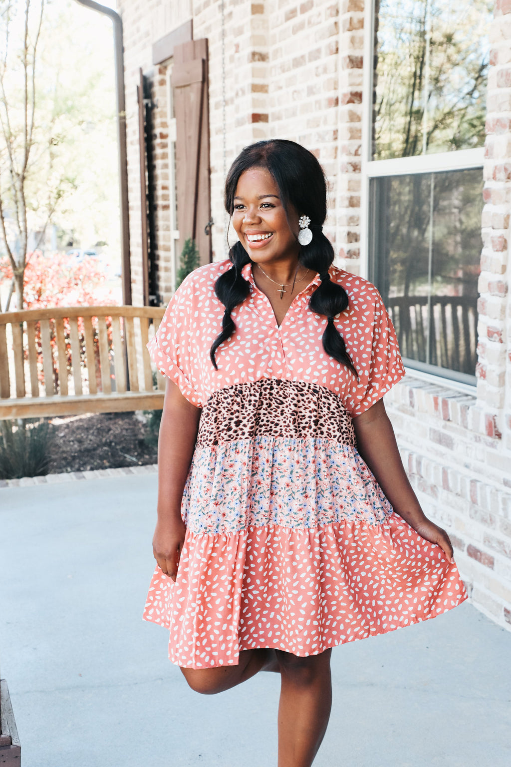 Mixed Print Babydoll Tiered Dress