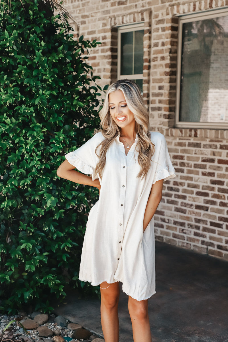 Button Down Ruffled Sleeve Shirt Dress