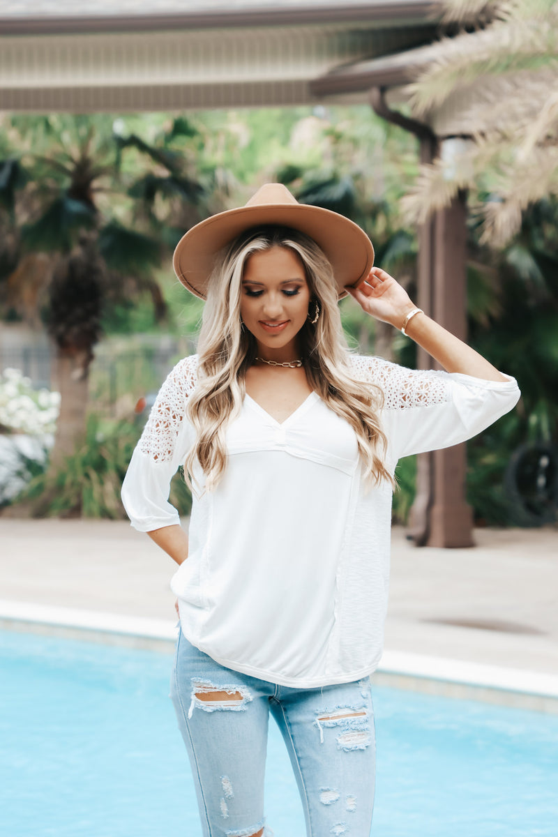 Flowy Top With Crochet Sleeve Detail