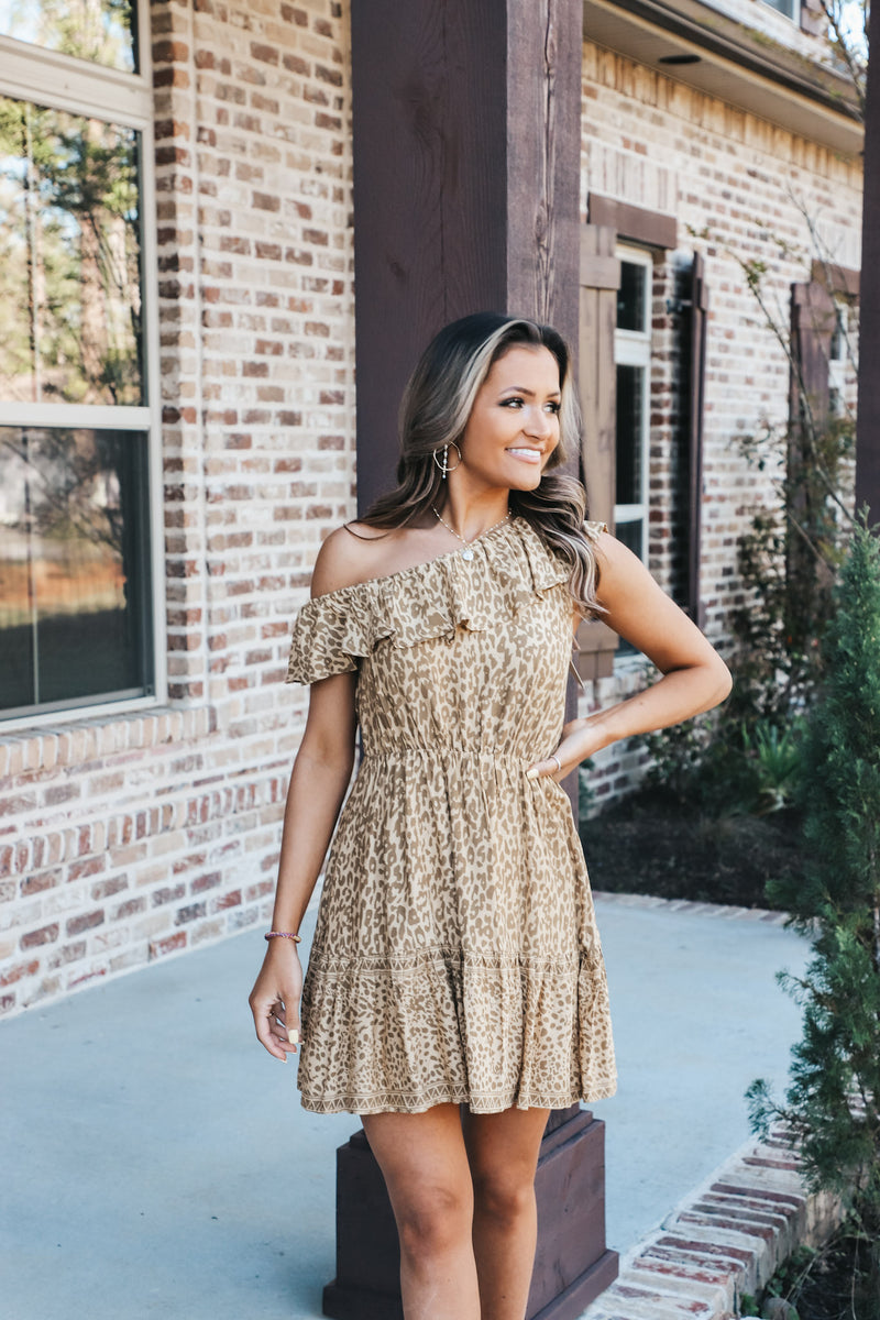 Cheetah One Shoulder Dress