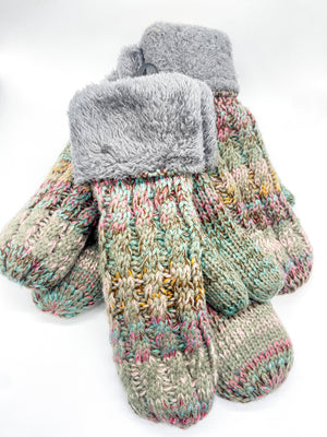 Grey and Multicolor Knit Mittens - Doorbuster