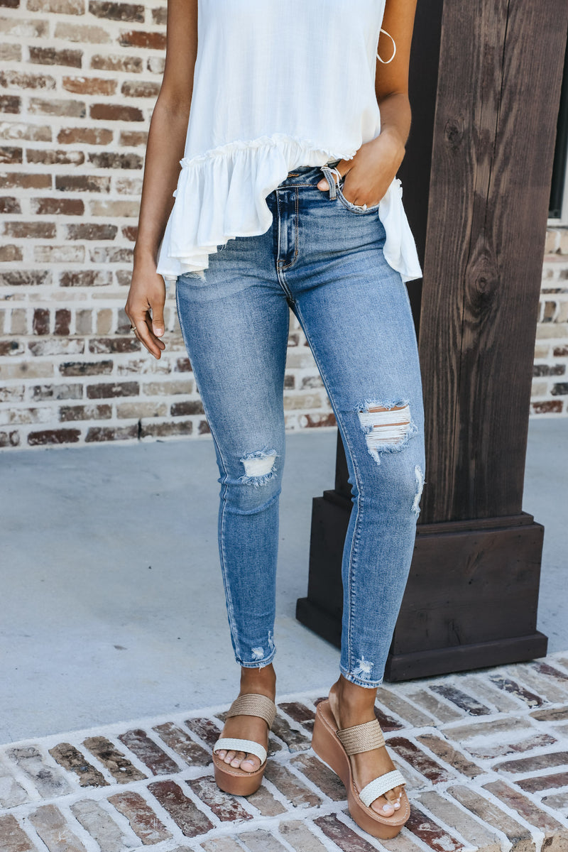 High Rise Medium Wash Distressed Skinny