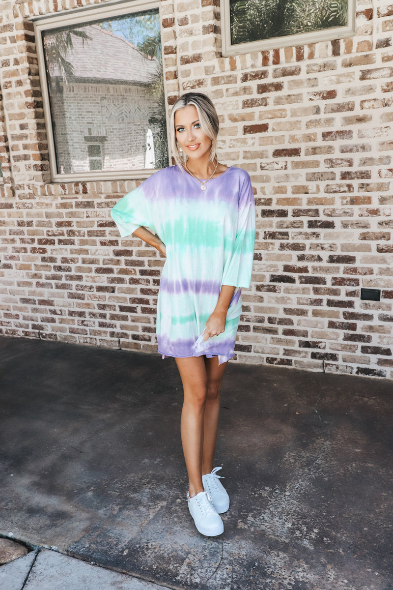 Purple & Green Mix Tie Dye Tunic