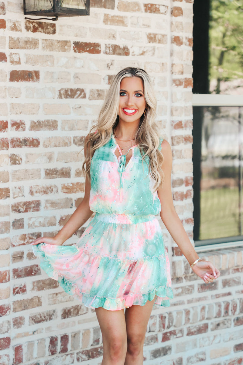 Adrienne Tie Dye Foil Design Dress