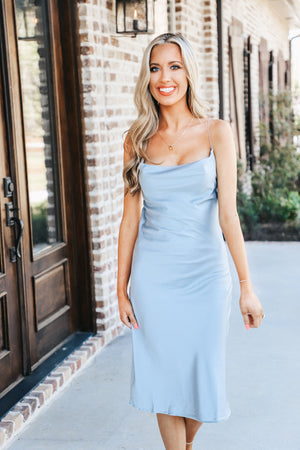 Satin Cowl Neck Dress